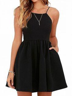 Shop Black Backless High Waist Skater Mini Dress from choies.com .Free shipping Worldwide.$24.29