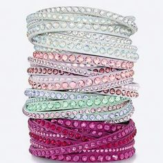 Sparkly bracelets are a must-have item in your closet. This bracelet wraps comfortably around your wrist for a twisted look. The closure consists of two clear crystal buttons, allowing you to adjust the size. Swarovski Bracelet, Swarovski Jewelry, Crystal Bracelets, Crystal Jewelry, Swarovski Crystals, Wrap Bracelets, Jewelry Accessories, Fashion Accessories, Jewelry Design