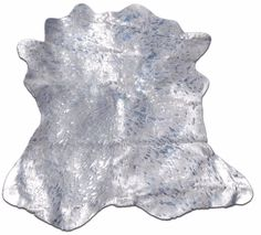 "Acid Wash Metallic Mini cowhide rug Average Size:36""X31""Silver Metallic calfskin #cowhidesusa #Contemporary"