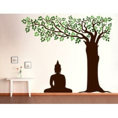 Buddha Under Tree Wall Decal - Kcwalldecals: Buy wall decals and wall stickers online in India Buddha Wall Painting, Budha Painting, Tree Wall Painting, Simple Wall Paintings, Buddha Artwork, Wall Painting Living Room, Buddha Wall Art, Block Painting, Tree Wall Decor