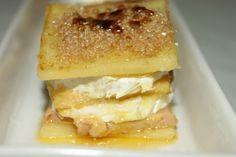 Milhojas de Foie, queso de cabra y manzana