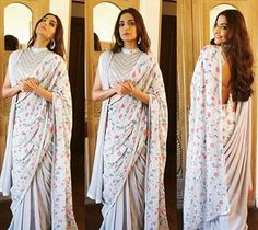 Twice the Style! Sonam Kapoor wore an Abu Jani Sandeep Khosla double pallav sari last week and carried the look to reach new heights of Elegance. Teamed with a funk mirror backless blouse that sets off the delicacy of the floral drape to perfection.