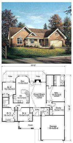 Plano de casa con garaje de 1 piso y 3 dormitorios 106m2 for Planimetrie ranch con 2 master suite