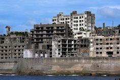 Hashima, also called Battleship Island or Ghost Island, off the coast of Nagasaki, Japan.