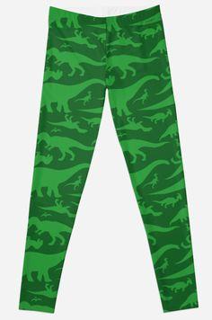 Green Dinosaur Pattern Leggings #dinosaurs #jurassic #rex #raptor #pteranodon