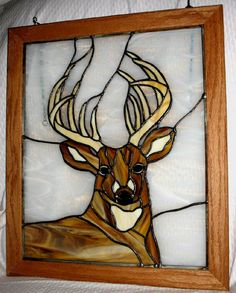 stained glass 12 point buck framed