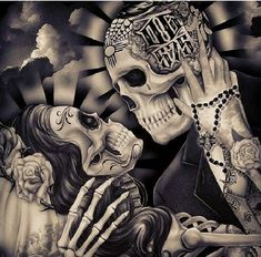 ⚡CHECK OUR STORE ⚡💀👉 @www.brapwrap.com motorcycle Gear | T- Shirt | Rings | Bracelets | & More 🔥 🌐Free Shipping Worldwide 🌐 Arte Chicano, Couple Tattoos, Sugar Skulls, Sugar Skull Art, Sugar Skull Drawings, Santa Muerte, Tatoo, Skeleton Art, Skeleton Couple Tattoo