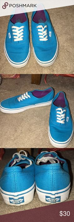 Blue vans Blue vans, worn a few times, in good condition. They are a 7.5 in men's and a 9 in women's! Vans Shoes Sneakers