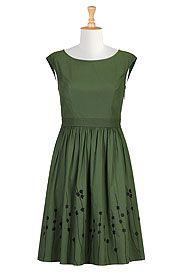 I <3 this Contrast floral embellished poplin dress from eShakti