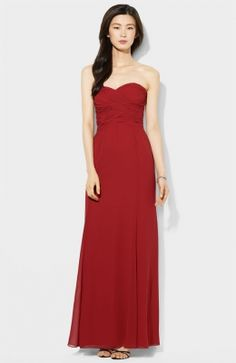 Lauren Ralph Lauren Wrapped Bodice Sweetheart Gown available at Love this dress! Wish they had it in my colors Summer Dresses Online, Red Summer Dresses, Evening Gowns Online, Evening Dresses, Black Tie Gown, Cheap Long Dresses, Top Mode, Beautiful Evening Gowns, Gala Dresses