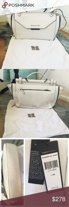 Bcbgmaxazria white leather bag Worn only twice. Comes with the dust bag. Has two zippers on the sides. The tags are still attached. BCBGMaxAzria Bags Satchels