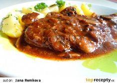 Pikantní krkovice na žampionech recept - TopRecepty.cz No Salt Recipes, Meat Recipes, Cooking Recipes, Goulash, Food 52, Easy Cooking, Pork, Food And Drink, Menu