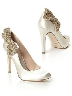 Jeweled Bow Satin Pumps