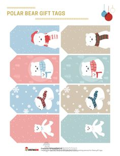 Free printable Christmas gift tags featuring cute polar bears in a pastel color scheme. Download them from https://christmasowl.com/download/gift-tags/polar-bear/