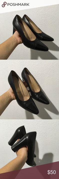 FERRAGAMO 6 PATENT FRONT LEATHER SHOES BLACK HEELS Super cute heels by FERRAGAMO Ferragamo Shoes
