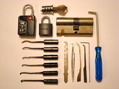 Some homemade lock picking tools, submitted in a photo to (the always amazing) Things Organized Neatly.
