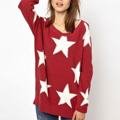 Price:$30.99 Color: Red Material: Acrylic European Style Cute Sweet Star Knit Sweater