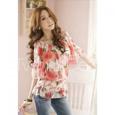 Casual Style Collarless Bubble-Bubble Sleeves Floral Print Chiffon Women's Blouse