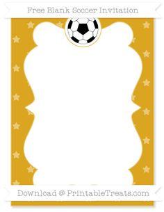 Free Gold Star Pattern Blank Soccer Invitation