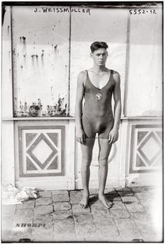 Johnny Weissuller, Olympic Gold Swimmer: 1922 photo, signed his Movie Contract in 1932.