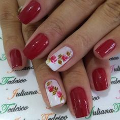 30 Fotos de Unhas Decoradas do instagram Nail Polish Designs, Nail Art Designs, Toe Nail Art, Acrylic Nails, Red Nails, Hair And Nails, Cute Nails, Pretty Nails, Ongles Forts