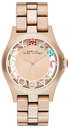 Marc by Marc Jacobs Henry Rose Gold-Tone Skeleton Watch on shopstyle.com