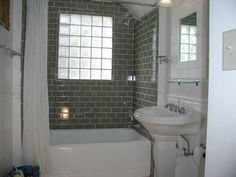 Dark Grey And White Combine Wall Subway Tile Bathroom Ideas With White Bathtub And White Sink With Glass Block Window Wall Mount Square Shape Glass Window On Surprising Decoration