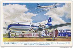 B.O.A.C. Argonaut Airplane , Artist C.A. GARMAN , 40-50s