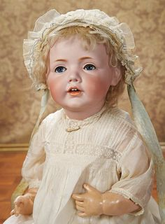 """Lot: 274. Beautiful Grand German Bisque """"Hilda"""" by Kestner in Fine Antique Gown 23"""""""