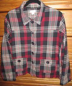 Christopher & Banks Women's XL Plaid Lumberjack Shirt Trendy Button Red Black GC #ChristopherBanks #ButtonDownShirt