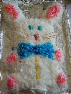 Easter bunny cake..try with white chocolate or cream cheese frosting instead of coconut