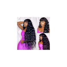 Loose Deep Wave Wigs With Bangs Virgin Brazilian Human Hair Wigs With Bangs None Lace Front Wigs 130% Density Loose wave…