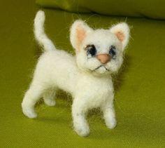 sweet Cat needle felted miniature small animal by nutkaart on Etsy
