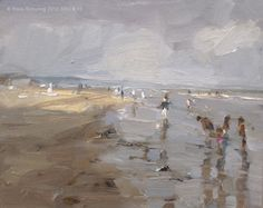 Seascape summer # 15 Painting grey / A touch of sun and children playing, painting by artist Roos Schuring