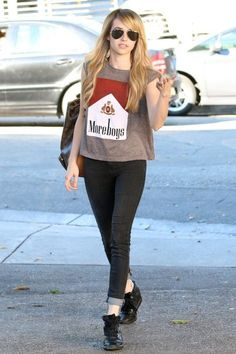 Emma Roberts wears a 'Moreboys' t-shirt in West Hollywood.