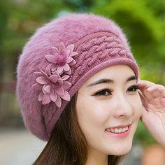 Beanies Women Fur Winter Women s Hats Beret Girls Knitted Winter Hats. Tejer  SombrerosGorritas ... bffd4b12488