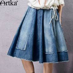 Artka Women's 2015 Summer New Vintage Solid Color Shirred Elegant Skirt Comfortable Cotton All-Match Skirt Cheap Skirts, Cheap Dresses, Mini Skirts, Love Jeans, Refashioning, Recycled Denim, Culottes, Couture, Little Girl Dresses