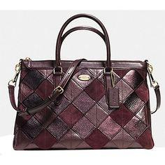 Pre-owned Coach Morgan In Patchwork Leather ( F36698): Msrp Oxblood... ($475) ❤ liked on Polyvore featuring bags, handbags, oxblood, hand bags, leather satchel handbags, leather cross body purse, crossbody purse and leather man bag