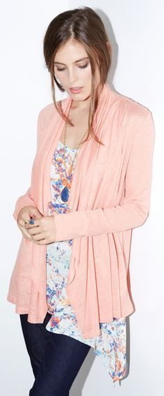 Lightweight slub linen brings breathable comfort to this easy, breezy pastel cardigan.