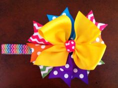 Bright hair bow and FOE headband set by Brookieshairbows on Etsy, $6.00