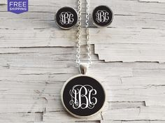 Monogram Necklace & Earring Set - 13 Color Options (Sale price $19.99)