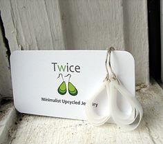 Recycled plastic drop earrings $13.68