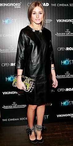 Olivia Palermo #leather #LBD