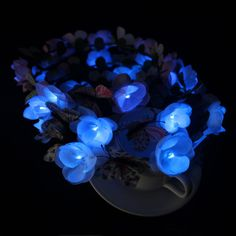 Custom LED light up flower crown with butterfly - LED hair accessory - Dongguan Duosen Hair Accessory Co.,LTD