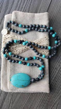 Hematite, Blue Howlite, Lava Japa Mala, Spiritual Jewelry by AkashaMalas on Etsy Spiritual Jewelry, Beaded Bracelets, Pendants, Beads, Blue, Etsy, Beading, Pearl Bracelets, Hang Tags