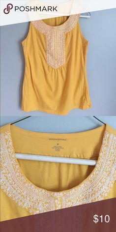 Banana Republic Tank Top Cotton Tank Top with white embroidering around the neck. Color looks great with denim or white shorts! Banana Republic Tops Tank Tops