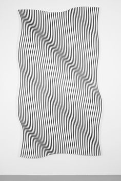 """""""Cut!"""" at Evergreene by Philippe Decrauzat Line Patterns, Textures Patterns, Graphic Patterns, Waves Line, Line Design, Principles Of Design, Curved Lines, Optical Illusions, Optical Illusion Art"""