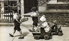 London in the 1920's —with a doll and teddy bear