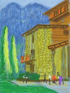 Available for sale from Galerie Lelong & Co., David Hockney, The Yosemite Suite IPad drawing printed on paper. Edition of 94 × 71 cm David Hockney Artwork, David Hockney Landscapes, David Hockney Ipad, Modern Art, Contemporary Art, Georges Pompidou, Pop Art Movement, Arte Pop, Paintings
