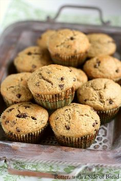 Banana Chocolate Chip Muffins ~ made with coconut oil.. I also added in some ground up butterscotch chips. These are so good!! Plus my house now smells amazing.